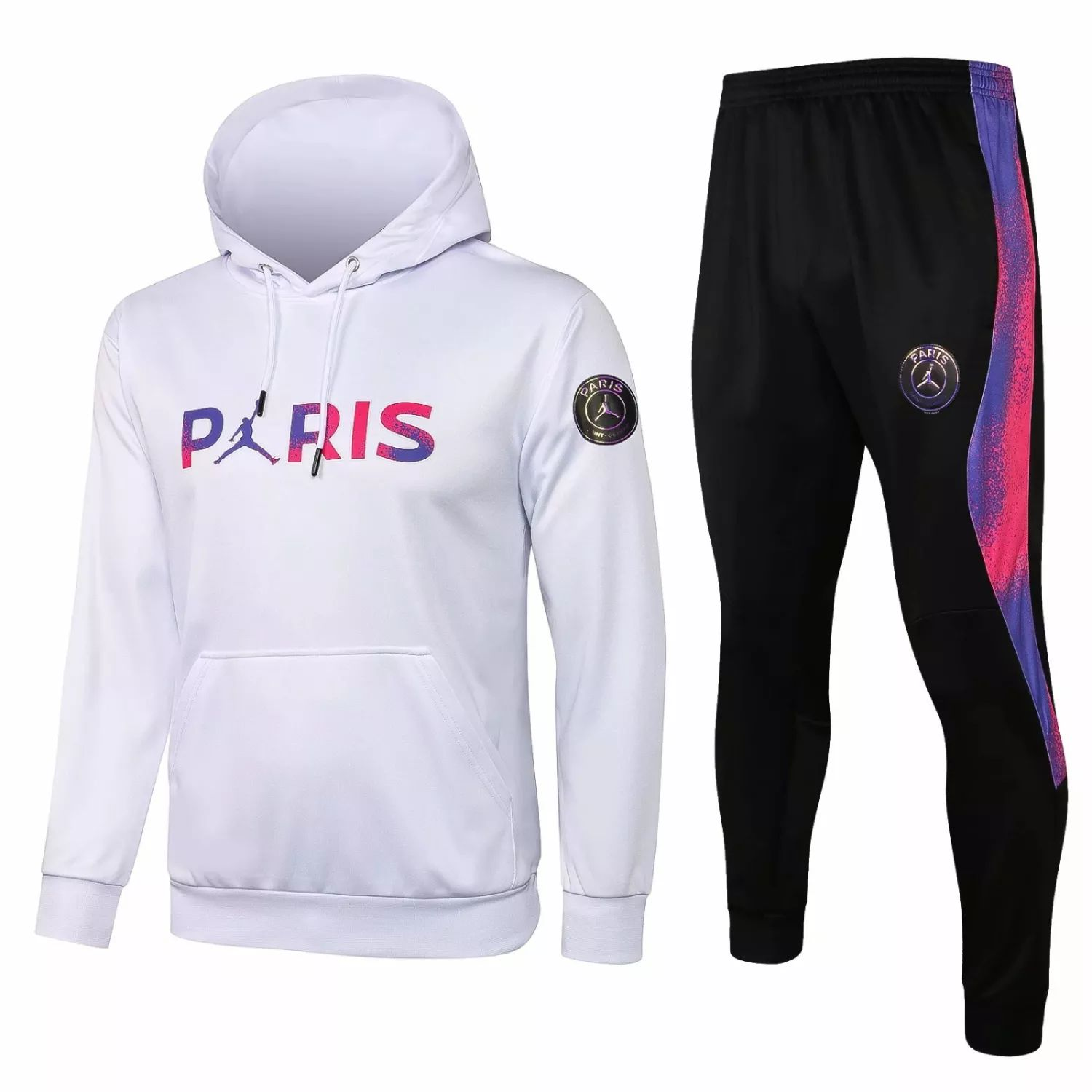 "PSG - WHITE-PINK-PURPLE ""Hoodie Training Suit"" JORDAN – 2021-22"